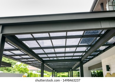 Transparent acrylic roof sheet close-up for garage roof construction