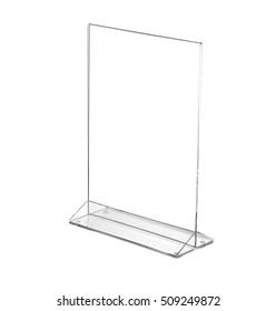 Transparent acrylic table stand display for menu in isolated white background