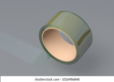 Transparent adhesive tape roll on gray background. 3d illustration.