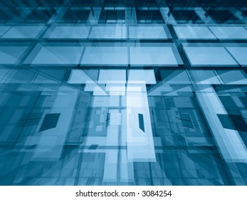 Transparent architectural abstract - geometric 3d background