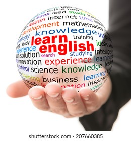 Transparent ball with inscription learn English in a hand