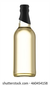 Transparent beer bottle with black cap isolated on white background. 3D Mock up for your design.