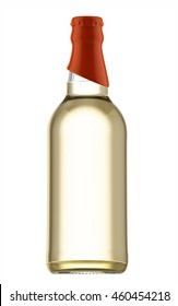 Transparent beer bottle with orange cap isolated on white background. 3D Mock up for your design.