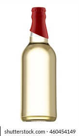 Transparent beer bottle with red cap isolated on white background. 3D Mock up for your design.