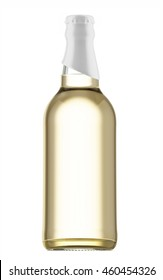 Transparent beer bottle with white cap isolated on white background. 3D Mock up for your design.