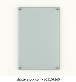 Transparent blank glass plate on white background. 3D Illustration