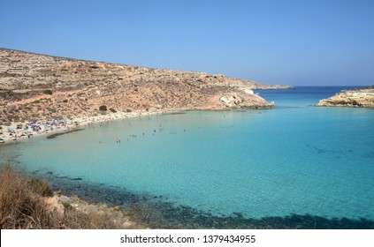 Transparent and blue water in the sea of Lampedusa at the beach of the Rabbits. The Pelagie Islands are the southernmost point of Italy in Sicily.