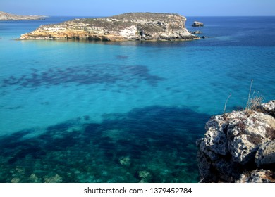 Transparent and blue water in the sea of Lampedusa at the  Rabbits island. The Pelagie Islands are the southernmost point of Italy in Sicily.