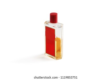 Transparent bottle with cologne. Isolated on white background.