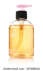 transparent bottle with liquid soap on white background