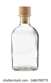 Transparent bottle with wooden cork isolated on a white background.