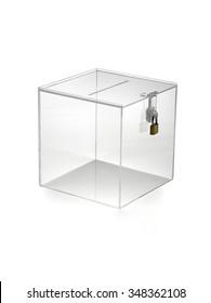 transparent box with padlock