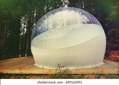 Transparent camping tent called bubble-tent to enjoy glamping in the Black Forest, Germany