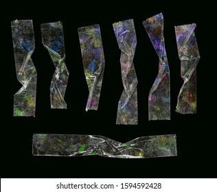 transparent cello tape straps or strips isolated on black background with unseen glitter rainbow texture, cool design elements for your poster collage or memes.