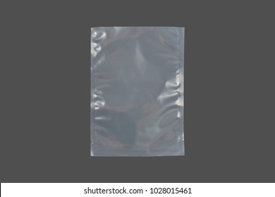 transparent cellophane bags on a gray background
