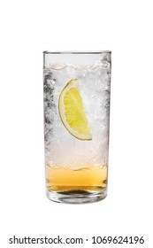 Transparent cocktail with syrup in a tall glass with crushed ice frappe and a slice, quarter of lime. Side view. Isolated white background. Drink for the menu restaurant, bar, cafe