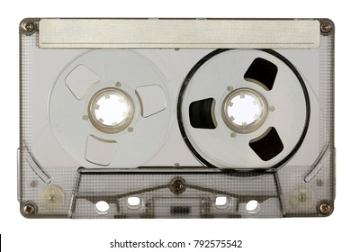 Transparent compact cassette tape is isolated on white background