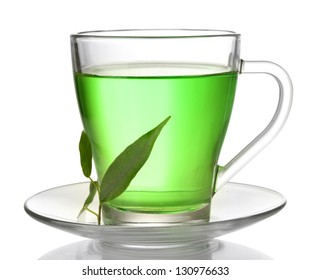 Transparent cup of green tea, isolated on white