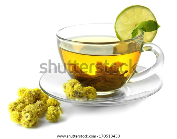 Transparent cup of herbal tea with herb isolated on white