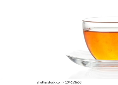 Transparent cup of tea isolated on white  backgrond