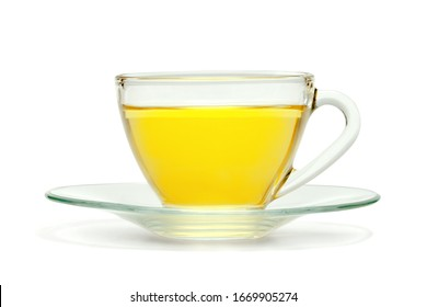 Transparent cup of tea isolated on white background ,include clipping path
