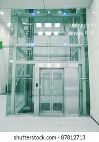 Transparent elevator in underground passage