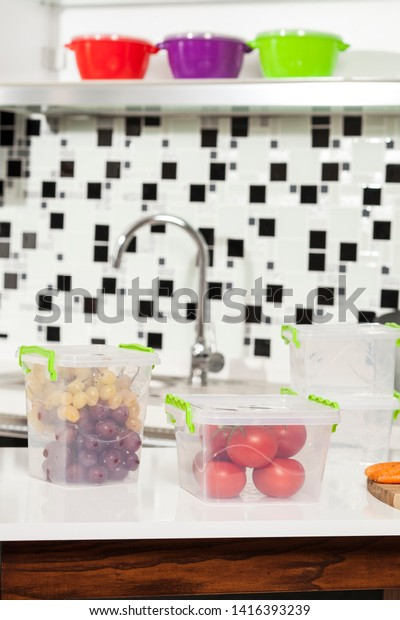 Transparent Fruit Vegetable Storage Containers Rests Stock