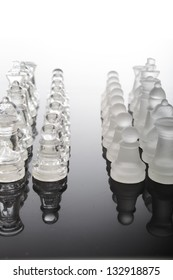 transparent glass chess pieces