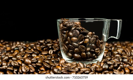 Transparent Glass Cup Filled With Coffee Beans