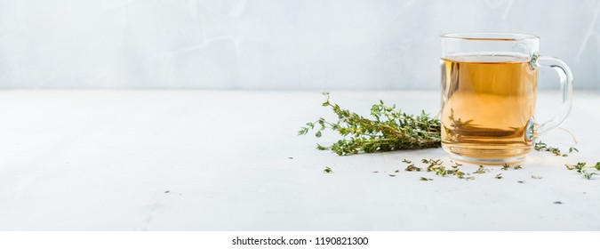 Transparent glass cup of herbal tea with thyme and sprigs of thyme tied in a bunch on a white background. Web banner with copy space