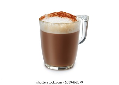 Transparent glass with hot cappuccino isolated on white