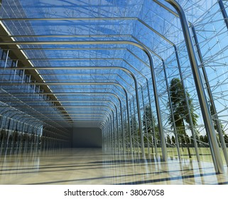 Transparent glass interior with sunlight from outside with floor and reflections