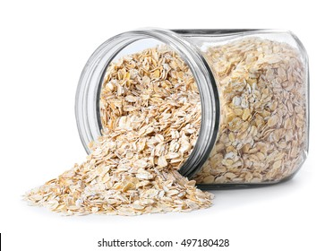Transparent glass jar with rolled oats isolated on white background
