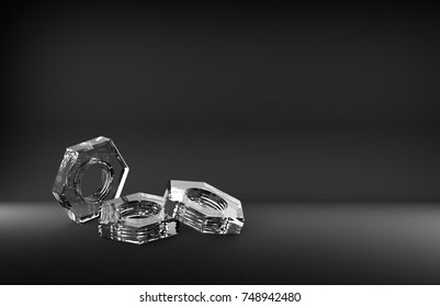 transparent glass nut on a black background