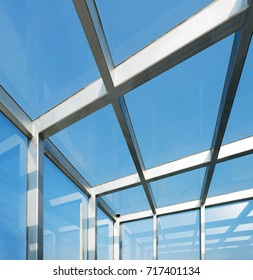Transparent glass roof of a modern building