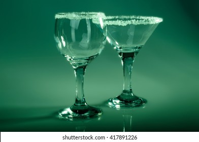 transparent glass wine glasses with decoration. deep toning photo