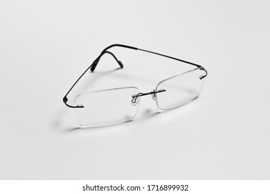Transparent glasses on white background. Photo for your design.High resolution photo.Mock-up.