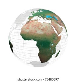 transparent globe with continents against a white background