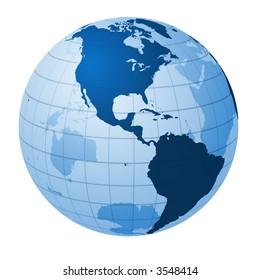 Transparent globe focused on America
