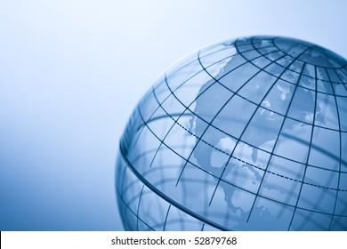 Transparent globe showing North America.