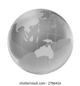 Transparent globe, southern countries, isolated white