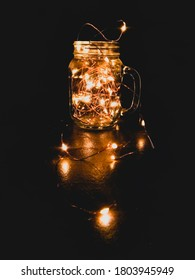 Transparent jar with lights, Wire fire in glass jar , fairy light, aesthetic lamp on transparent glass mug, tumblr lamp on mug, Christmas lamp on mug with black background