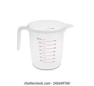 Transparent kitchen measuring cup isolated on a white background.