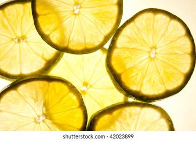 Transparent lime slices