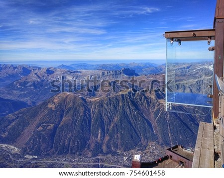 Transparent observation deck high in the mountains, Chamonix Mont Blanc