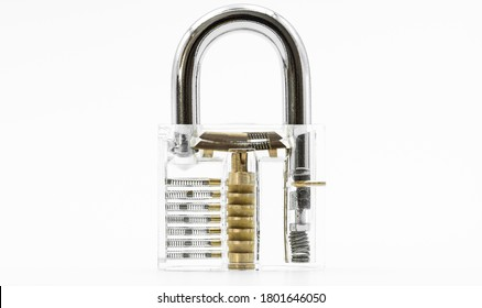 Transparent padlock mechanism closeup isolated