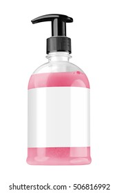 Transparent plastic bottle with red liquid hand soap, blank label and black dispenser lid, isolated on white background