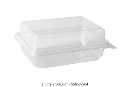 Transparent plastic food box isolated on white background