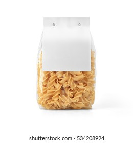 Transparent plastic pasta bag with paper label isolated on white background. Packaging template mockup collection. With clipping Path included. Stand-up Back view. Fusilli shape