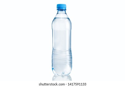 Transparent plastic pet bottle of mineral water against isolated background  - Shutterstock ID 1417591133
